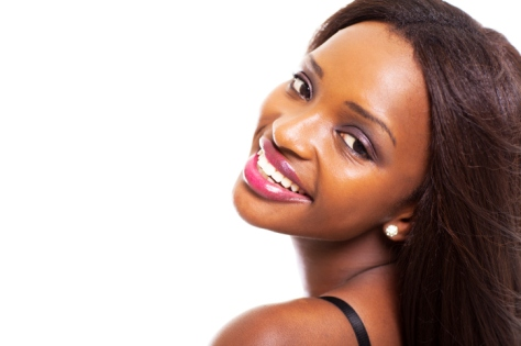 woman smiling straight hair